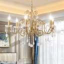 Traditional Scrolls Suspension Light 6-Bulb Metallic Ceiling Chandelier in Gold with Crystal Accent