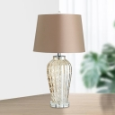 Modern Ribbed Jar Clear Glass Table Lamp Single-Bulb Nightstand Light with Tapered Fabric Shade in Coffee