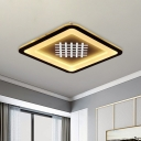 Squared Foyer Ceiling Mounted Light Acrylic LED Modernist Flush Lamp in Black with Woven Grid Pattern