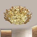 Gold Branch Flush Light Contemporary Cognac and Clear Crystal LED Bedroom Flush Mount Spotlight