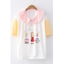 Letter Amusement Park Cartoon Graphic Contrasted Short Sleeve Peter Pan Collar Button up Loose Fit T Shirt for Preppy Girls