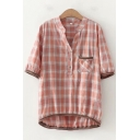 Plaid Printed Half Sleeves V-Neck Button up Chest Pocket Knitted Trim Casual Shirt Top for Ladies