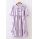 Fancy Girls Duck Embroidery Bell Sleeves Peter Pan Collar Bow Tied Back Ruffled Trim Midi Pleated Swing Dress