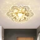 Flower Clear Crystal Ceiling Light Modern LED Corridor Flush Mount Lighting Fixture