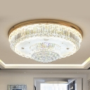 Simple 2-Tier Flush Mount Lighting LED Crystal Ball Ceiling Lamp in Gold for Living Room