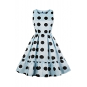 Womens Light Blue Polka Dot Printed Sleeveless Round Neck Ruffled Trim Banquet Midi Pleated Flared Dress