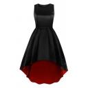 Dressy Girls Sleeveless Round Neck High Low Hem Midi Pleated Flared Dress in Black