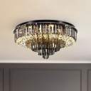 Smoke Gray Crystal Tiered Ceiling Lamp Traditionalism 5/6 Bulbs Living Room Flush Light Fixture