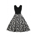 Daisy Floral Pattern Patchwork Sleeveless Scalloped V-Neck Mid Pleated Swing Special Occasion Dress in Black