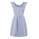 Trendy Womens Stripe Pattern Daisy Floral Button down Ruffled Sleeveless Round Neck Short A-Line Dress in Blue