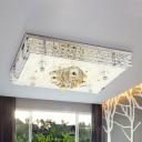 Rectangular Living Room Flush Mount Contemporary Faceted Crystal LED Chrome Ceiling Flush