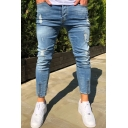 Mens Distressed Bleach Zipper Detail Mid Waist Ankle Fashion Skinny Jeans in Blue