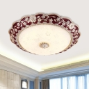 Resin Red/Blue Flushmount Lighting Flower LED Country Style Flush Ceiling Light with Bowl Frosted Textured Glass Shade