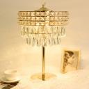 Tiered Bedside Nightstand Lamp Vintage Crystal Prism Gold Finish LED Table Light