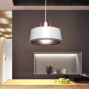 Circle Dining Room Ceiling Light Metal 1-Head Modern Nordic Suspended Pendant Lamp in White