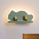 Elephant/Aircraft/Gourd Wall Light Fixture Cartoon Acrylic Pewter/Yellow/Blue LED Sconce Lamp with Storage Desk in White/Warm Light
