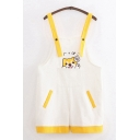 Cute Trendy Girls Sleeveless Japanese Letter Dog Embroidery Patched Pocket Contrasted Relaxed Suspender Shorts