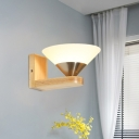 Modern 1 Bulb Sconce Light Wood and Nickel Cone Wall Mounted Light with Milk White Glass Shade