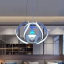 White Twisting Ceiling Pendant Light Modernist Acrylic LED Hanging Chandelier with Wine Glass Design for Living Room