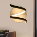 Spiral Wall Mount Lamp Simplicity Acrylic White LED Wall Sconce Light with Circular Backplate for Bedroom