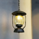 Yellow Glass Kerosene Pendulum Light Vintage 1 Light Corridor Metal Suspension Pendant in Brass/Bronze