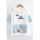 Lovely Girls Short Sleeve Hooded Drawstring Cartoon Cat Print Flap Pocket Colorblock Relaxed T-Shirt