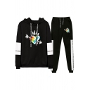 Cool Girls Long Sleeve Drawstring Letter Flower Graphic Colorblock Relaxed Hoodie & Heart Print Long Cuffed Tapered Sweatpants Set