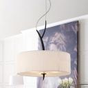 Fabric Drum Shape Chandelier Lighting Modernist 3 Bulbs White/Black Finish Ceiling Pendant Lamp