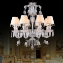 Traditionalism Curved Arm Chandelier 8-Light Clear Crystal Hanging Ceiling Light with Cone White Fabric Shade