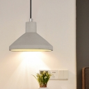 1 Light Hanging Ceiling Light Vintage Coffee Shop Pendant Lamp Kit with Flared Cement Shade in Grey