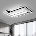 Living Room LED Flush Mount Modernist Black and White Ceiling Light Fixture with Interlaced Rectangle Acrylic Shade