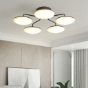 Black Circles Semi Flush Mount Contemporary Acrylic LED Ceiling Mounted Fixture with Curved Branches for Living Room