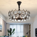 Black Drum Shaped Pendant Chandelier Traditional Faceted Crystal 6 Bulbs Living Room Ceiling Light