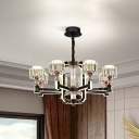 6/8 Lights Radial Ceiling Chandelier Modernist Black Metal LED Pendant Lamp with Drum Crystal Shade