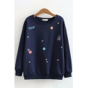 Stylish Womens Long Sleeve Round Neck Letter Mix Cartoon Embroidery Loose Fit Pullover Sweatshirt