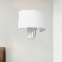 White Half-Circle Sconce Light Simplicity Fabric 1 Head Living Room Wall Mounted Light