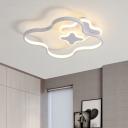 White Clover Flush Mount Ceiling Light Kids LED Acrylic Lighting Fixture in White/Warm Light for Bedroom