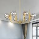 Gold Candle-Like Chandelier Mid Century 8 Heads Cream/Smoke Grey Glass Ceiling Hanging Light