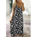 Fashionable Ladies Sleeveless V-Neck All Over Daisy Floral Pattern Maxi A-Line Cami Dress
