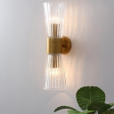 Clear Ribbed Glass Cone Wall Light Post-Modern 2 Heads Sconce with Brass Arm for Bedside