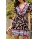 Womens Ethnic Pretty Short Sleeve Surplice Neck All Over Flower Printed Patchwork Short Pleated A-Line Boho Dress