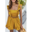 Hot Chic Girls Sleeveless Square Neck Ruffled Trim Bow Tie Open Back Slim Fit Crop Top & Drawstring Waist Relaxed Shorts Set in Yellow