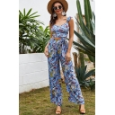 Gorgeous Ladies Sleeveless Ruffled All Over Leaf Bow Tie Crop Top & Long Wide Leg Pants Blue Co-Ords