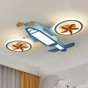 Blue Airplane Flush Mounted Light Cartoon LED Metallic Flush Ceiling Lamp Fixture for Kids Bedroom
