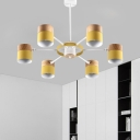 Macaron 6 Lights Chandelier Yellow/Pink/Grey-Wood Spliced Mug Shaped Pendant Lighting with Iron Swivel Shade