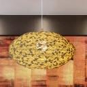 Horizontal Pendant Light Fixture Farmhouse Rattan 1-Light Beige Pendulum Light with Cocoon Detail