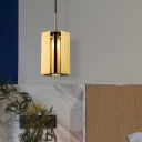 Brushed Gold Prism Hanging Pendant Postmodern 1 Bulb Iron Suspension Light with Inner Tube Glass Shade