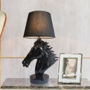 Vintage Horse Head Table Lighting Single-Bulb Resin Night Lamp in Polished Black/Gold with Lampshade