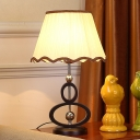 Scalloped Pleated Fabric Night Lamp Country 1-Light Bedside Table Light in Beige with Gourd Base