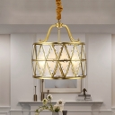 4 Bulbs X-Drum Chandelier Traditional Brass Frosted Glass Hanging Light for Dining Room